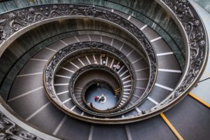 Spiral staircase. Ever Increasing circles